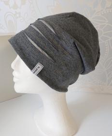Mütze Beanie für Hipster aus Baumwolljersey  , dunkelgrau hellgrau, Handmade by la piccola Antonella - Handarbeit kaufen