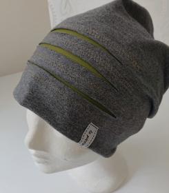 Mütze Beanie für Hipster aus Baumwolljersey  , grau grün, Handmade by la piccola Antonella - Handarbeit kaufen