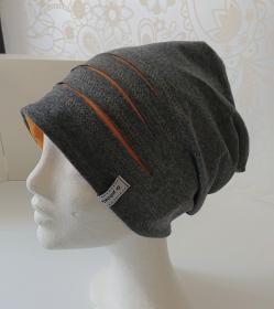 Mütze Beanie für Hipster aus Baumwolljersey  , grau gelb, Handmade by la piccola Antonella - Handarbeit kaufen