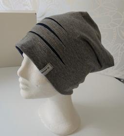 Mütze Beanie für Hipster aus Baumwolljersey  , grau blau, Handmade by la piccola Antonella - Handarbeit kaufen