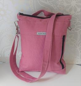 Umhängetasche aus Baumwollstoff, auch als Rucksack tragbar, in rosa, Handmade by la piccola Antonella - Handarbeit kaufen