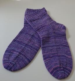 Handgestrickte Socken aus Baumwolle in lila, Gr, 38/39, Handmade by la piccola Antonella - Handarbeit kaufen