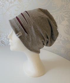 Mütze Beanie für Hipster aus Baumwolljersey  , grau weinrot, Handmade by la piccola Antonella - Handarbeit kaufen
