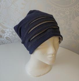 Mütze Beanie für Hipster aus Baumwolljersey  , blau grau, Handmade by la piccola Antonella - Handarbeit kaufen