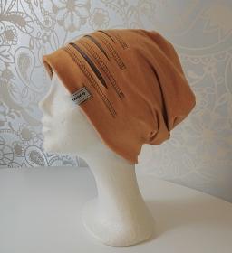 Mütze Beanie für Hipster aus Baumwolljersey  , gelb grau, Handmade by la piccola Antonella - Handarbeit kaufen