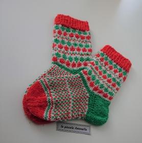 Handgestrickte bunte Wollsocken, Kindersocken, Gr. 24/25 , Fairisle Socken, orange weiß grün - Handarbeit kaufen