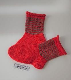 Handgestrickte Kinder  Wollsocken, Kindersocken ,  Gr. 24/25 , in orange, Handmade by la piccola Antonella