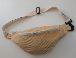 Bauchtasche aus Cord in beige ,  auch als Crossbag Umhängetasche tragbar , verstellbarer Tragegurt mit Karabiner , Gr. L, Handmade by la piccola Antonella