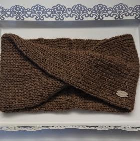 Gestricktes Stirnband in braun aus 100 % Alpaka , einfacher flacher Twist im Stirnbereich,  handgestrickt von la piccola Antonella - Handarbeit kaufen