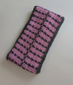 Gestricktes Stirnband ,  handgestrickt aus  100% Wolle (Merino), doppellagig , Fairisle , dunkelgrau / rosa - Handarbeit kaufen