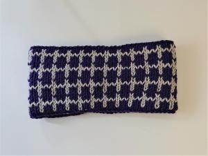 Gestricktes Stirnband ,  handgestrickt aus  100% Wolle (Merino), doppellagig , Fairisle , lila / hellgrau ,  handgestrickt von la piccola Antonella  - Handarbeit kaufen