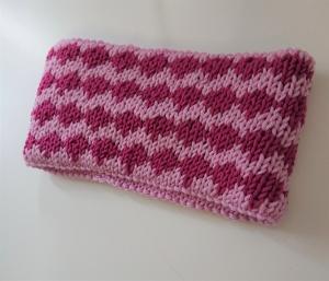 Gestricktes Stirnband ,  handgestrickt aus  100% Wolle (Merino), doppellagig , Fairisle , rosa / beere ,  handgestrickt von la piccola Antonella  - Handarbeit kaufen