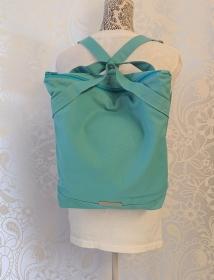 Rucksack aus Baumwolle in Türkis  , Wasser und Schmutzabweisender Stoff, Handmade by la piccola Antonella - Handarbeit kaufen