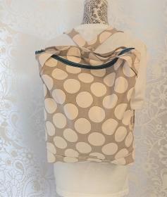 Rucksack mit Dots in Natur/Hellgrau , robuster Baumwoll Canvas, Handmade by la piccola Antonella - Handarbeit kaufen