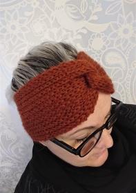 Gestricktes Stirnband ,  handgestrickt aus  100% Alpaka , mit Twist in Kupfer , diverse Farben möglich ,  handgestrickt von la piccola Antonella  - Handarbeit kaufen