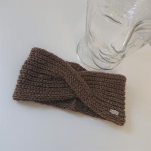 Gestricktes Stirnband ,  handgestrickt aus  100% Alpaka , flacher Twist, braun,   diverse Farben möglich ,  handgestrickt von la piccola Antonella  - Handarbeit kaufen