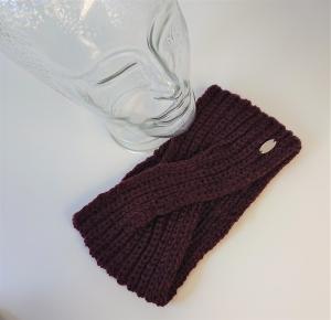 Gestricktes Stirnband ,  handgestrickt aus  100% Wolle (Merino) , flacher Twist in burgund / weinrot / bordaux ,  handgestrickt von la piccola Antonella  - Handarbeit kaufen