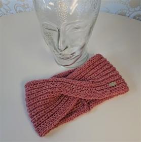 Gestricktes Stirnband ,  handgestrickt aus  100% Wolle (Merino ) , flacher Twist in rosa / altrose ,  handgestrickt von la piccola Antonella  - Handarbeit kaufen