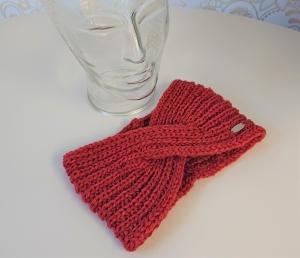 Gestricktes Stirnband ,  handgestrickt aus  100% Wolle (Merino) , flacher Twist in lachs ,  handgestrickt von la piccola Antonella