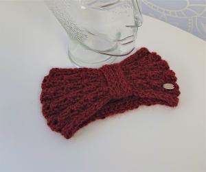 Stirnband gestrickt aus 100% Alpaka in rost / kupfer mit Zopfmuster , handgestrickt von la piccola Antonella  - Handarbeit kaufen