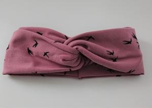 Stirnband genäht aus Baumwolle , doppelläufig mit Twist in rosa / altrosè mit kleinen Vögeln, Handmade by la piccola Antonella - Handarbeit kaufen