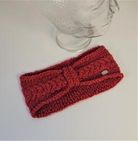 Gestricktes Stirnband mit Zopfmuster und gerafften Twist in lachs ,  handgestrickt aus 100% Wolle ( Merino) ,  handmade by  la piccola Antonella