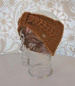Gestricktes Stirnband mit Zopfmuster und gerafften Twist in senf gelb ,  handgestrickt aus  100% Alpaka,  handmade by  la piccola Antonella - Handarbeit kaufen