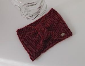 Breites gestricktes Stirnband in kupfer / rost aus dicker 100% Alpaka , geraffter Twist, handgestrickt von la piccola Antonella - Handarbeit kaufen