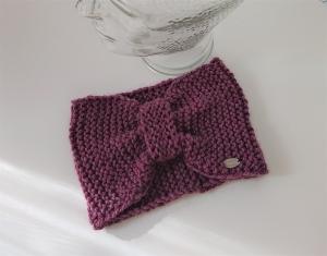 Breites gestricktes Stirnband in Beere / Rosa  aus dicker 100% Alpaka,  geraffter Twist, handgestrickt von la piccola Antonella - Handarbeit kaufen