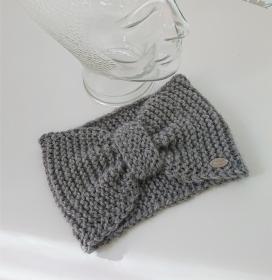 Breites gestricktes Stirnband in Grau aus 100%  Alpaka ,geraffter Twist, handgestrickt von la piccola Antonella - Handarbeit kaufen