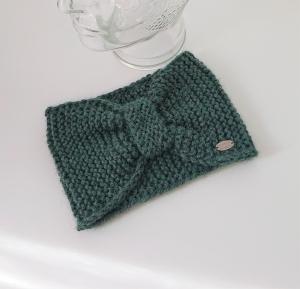 Breites gestricktes Stirnband in salbei grün  aus 100 % Alpaka, geraffter Twist, handgestrickt von la piccola Antonella - Handarbeit kaufen