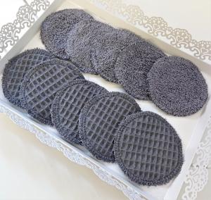 Zero Waste - Kosmetikpads , Abschminkpads aus Baumwolle - wiederverwendbar - waschbar  -  Set mit 10 Stück in 8 cm - Handmade by la piccola Antonella - Handarbeit kaufen