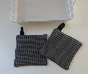 Waschlappen , Waschtuch, Seifentuch aus Baumwolle, Waffelpique in grau, 2 Stück , Gr. ca. 13x13 cm - Handmade by la piccola Antonella - Handarbeit kaufen