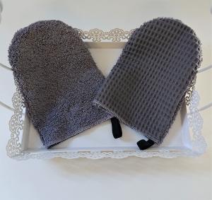 Waschlappen , Waschhandschuh  aus Baumwolle,  Frottee und Waffelpique in grau, 2 Stück , Gr. ca. 18,5 x 12,5  cm - Handmade by la piccola Antonella - Handarbeit kaufen