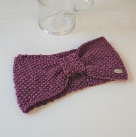 Stirnband in Beere / Rosa , gestrickt aus 100% Wolle (Merino), geraffter Twist , handgestrickt von la piccola Antonella - Handarbeit kaufen