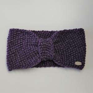 Gestricktes Stirnband  in lila aus 100% Wolle ( Merino), geraffter Twist , handgestrickt von la piccola Antonella - Handarbeit kaufen