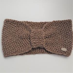 Stirnband gestrickt in beige aus 100% Alpaka mit gerafften Twist ,  handgestrickt von la piccola Antonella - Handarbeit kaufen