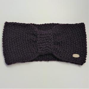 Stirnband gestrickt aus 100% Alpaka mit gerafften Twist in brombeere, Ohrenwärmer, handgestrickt von la piccola Antonella - Handarbeit kaufen
