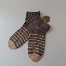 Gestrickte Socken aus Baumwolle in braun beige mit kurzen Schaft , Gr. 36/37 , handgestrickt von la piccola Antonella - Handarbeit kaufen