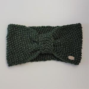 Gestricktes Stirnband  in moosgrün aus  100% Wolle (Merino) , geraffter Twist ,  handgestrickt von la piccola Antonella - Handarbeit kaufen