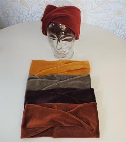 Samtiges Stirnband genäht aus Baumwoll  Nicki , Breite ca. 11 cm, Farbwahl : senf gelb, grau beige, weinrot, ocker braun, henna,dunkel grün  Handmade by la piccola Antonella