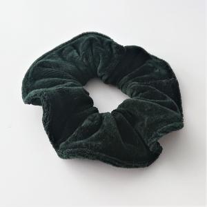 Scrunchy , Haargummi aus Baumwollsamt in dunkel grün 1 Stück , für Zopf und Dutt Frisuren, tragbar auch als Armband , Handmade by la piccola Antonella - Handarbeit kaufen