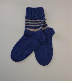 Gestrickte dicke Socken aus 8 - fach Sockenwolle in blau beige mit Ringeln  -  Gr. 40/41 , Kuschelsocken handgestrickt von  la piccola Antonella - Handarbeit kaufen