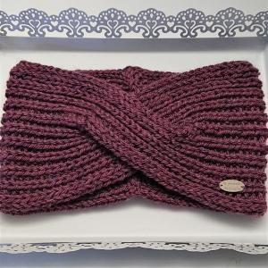 Stirnband gestrickt aus 100% Wolle in beere mit gekreuzten Twist , handgestrickt von la piccola Antonella - Handarbeit kaufen