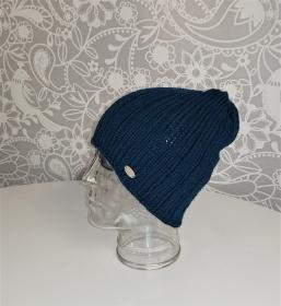 Gestrickte Mütze  Beanie  aus 100% Wolle  (Merino ) in Blau Grün/ Petrol , Unisex,  handgestrickt / handmade by la piccola Antonella - Handarbeit kaufen