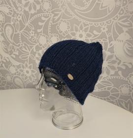 Gestrickte Mütze  Beanie in blau  aus 100% Alpaka , Unisex,  handgestrickt / handmade by la piccola Antonella - Handarbeit kaufen