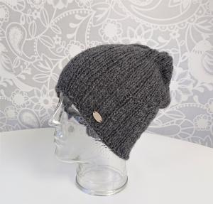 Gestrickte Mütze  Beanie in dunkel grau aus 100% Alpaka , Unisex,  handgestrickt / handmade by la piccola Antonella