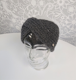 Gestricktes Stirnband in dunkel grau aus 100%  Alpaka , gekreuzter  Twist ,  handgestrickt von la piccola Antonella - Handarbeit kaufen