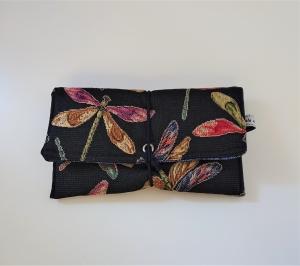 Universaltäschchen , Etui, Clutch, mit Libellen ,  zum Aufbewahren vielerlei Dinge mit Gummikordel zu verschließen, handmade by la piccola Antonella - Handarbeit kaufen