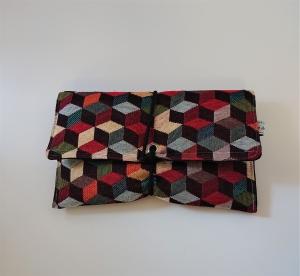 Universaltäschchen , Etui, Clutch, mit Cubes,  zum Aufbewahren vielerlei Dinge mit Gummikordel zu verschließen, handmade by la piccola Antonella - Handarbeit kaufen